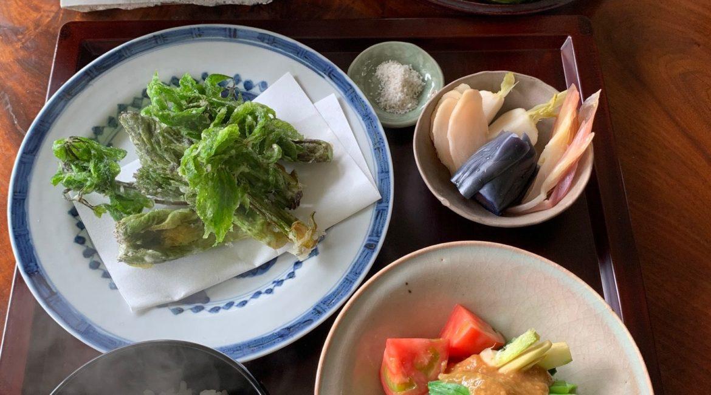 食卓に春の山菜が並んでいる